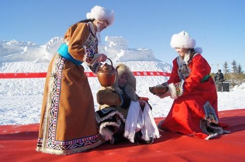 蒙古献哈达卡通图片